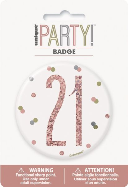 Glitz Rose Gold Age 21 Badge